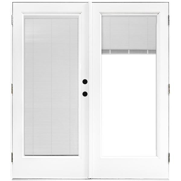 60 in. x 80 in. Fiberglass Smooth White Left-Hand Outswing Hinged Patio Door with Low E Built in Blinds