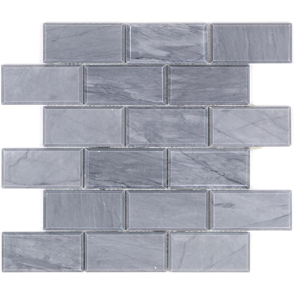 Splashback Tile Beveled Cardiff Gray Marble Mosaic - 3 in. x 6 in. x ...