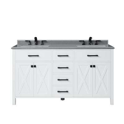 Xeres 60 in. W Bath Vanity in Pure White with a Cultured Stone Vanity Top in Pearl Grey with White Basin