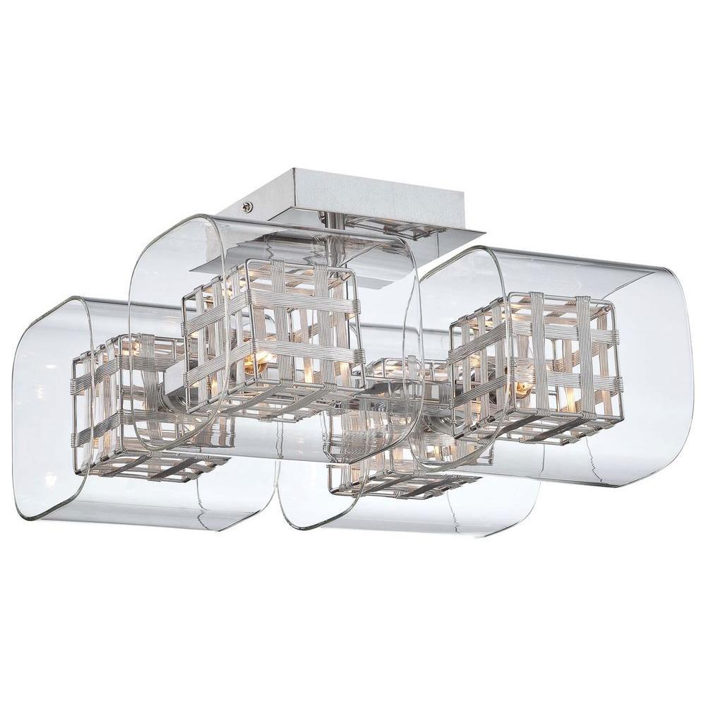 4-Light Chrome Ceiling Semi-Flushmount Fixture