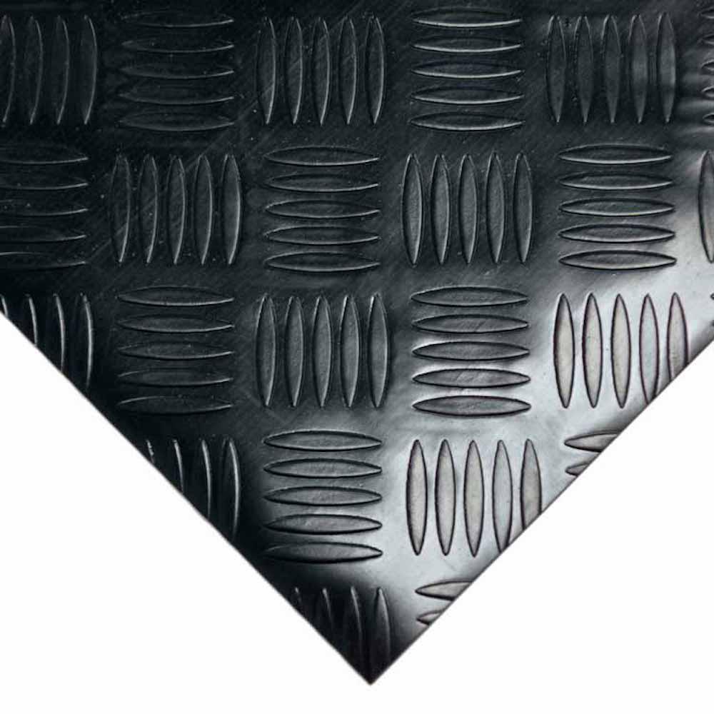 Diamond Grip 4 ft. x 4 ft. Black Commercial PVC Flooring