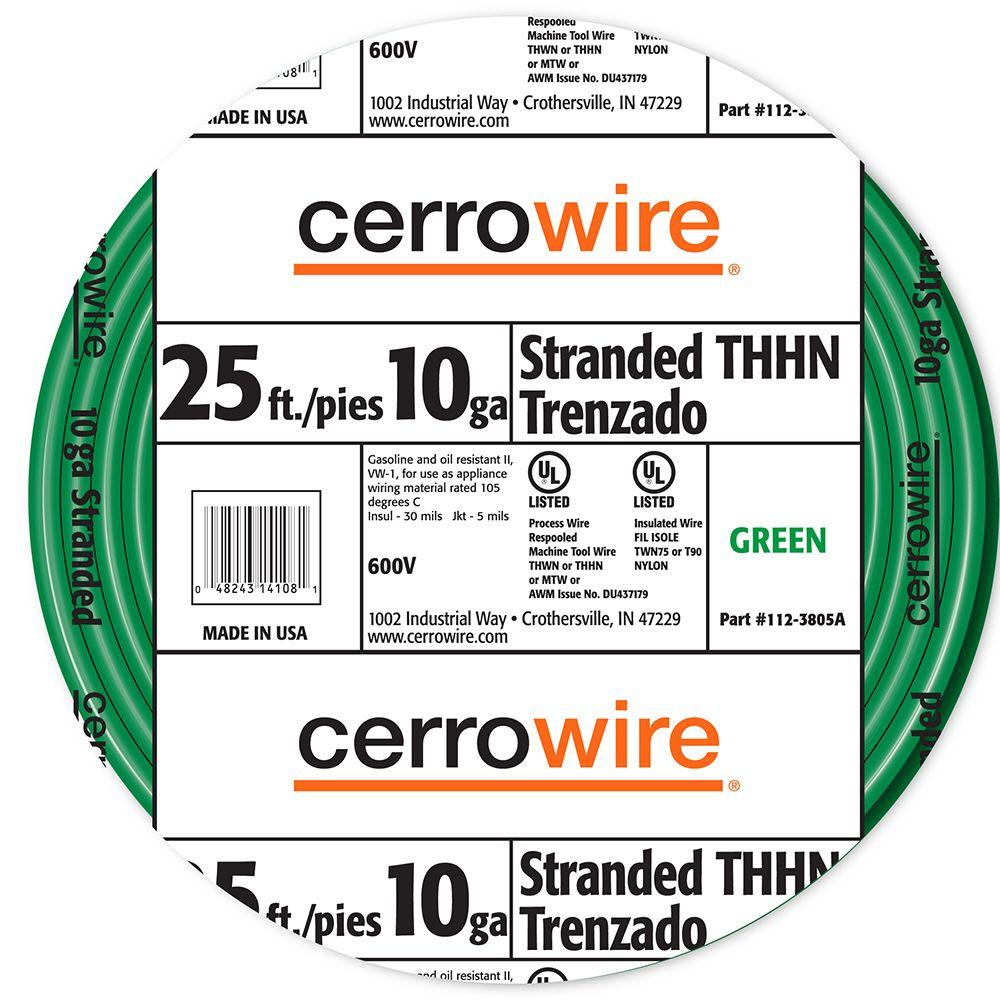 Cerrowire 25 ft. 10/19 Green Stranded THHN Wire-112-3805A - The Home ...