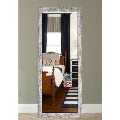 63.5 in. x 25.5 in. Weathered White Farmhouse Beveled Mirror