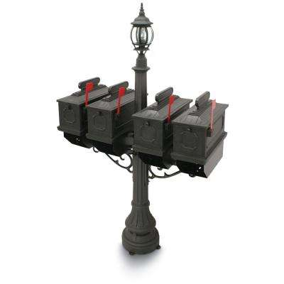 1812 Port Hill 4-Compartment Plastic Black Mailbox and Lantern Post