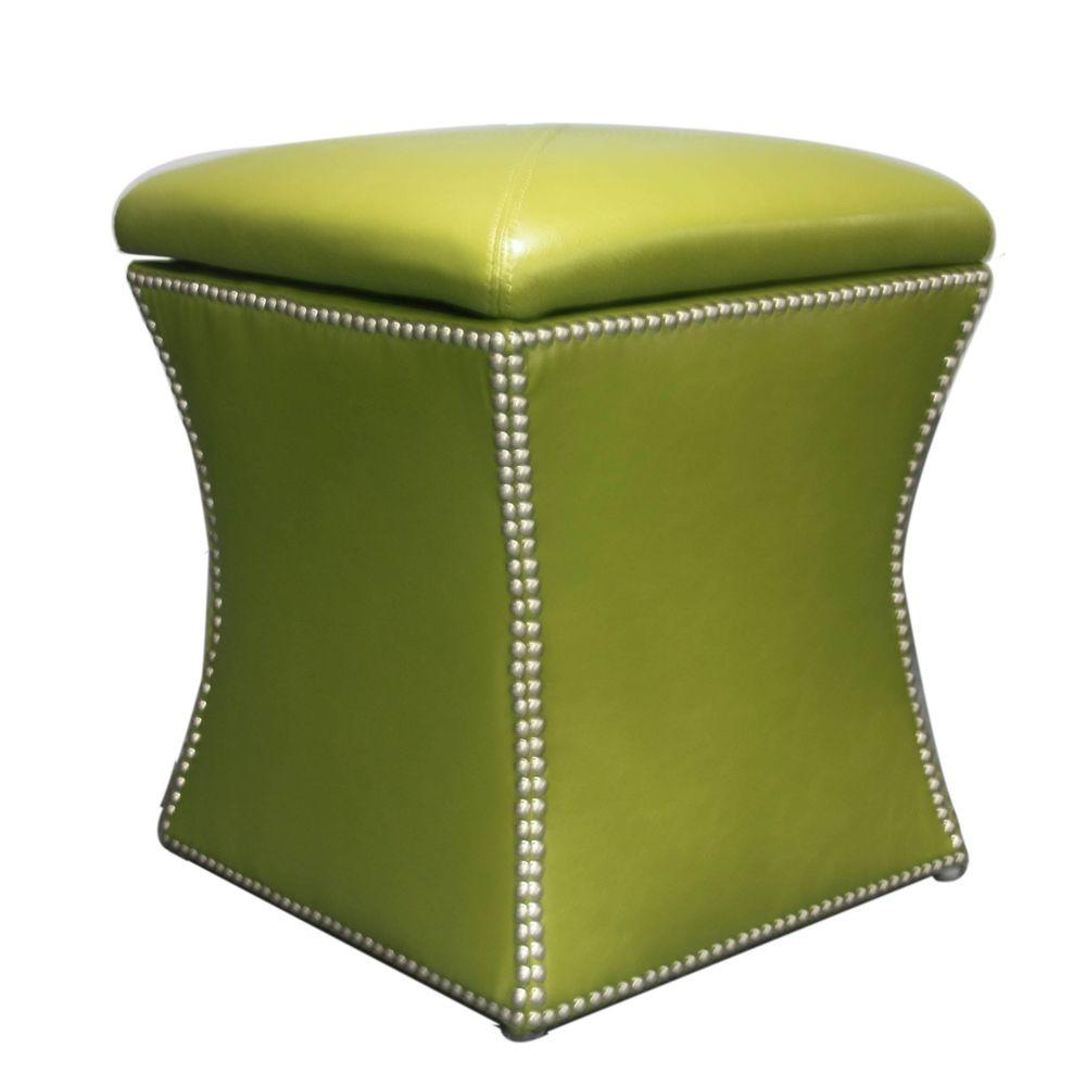 Elegant Home Fashions 17 in. W x 17 in. D x 20 in. H Avacado Carol Storage Ottoman-DISCONTINUED