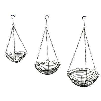 Scallop Edge Metal Wire Hanging Baskets (Set of 3)