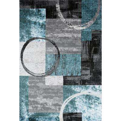 "Contemporary Abstract Circle Gray Blue 5'3"" X 7'3"" Indoor Area Rug"