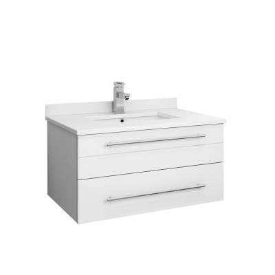 Lucera 30 in. W Wall Hung Bath Vanity in White with Quartz Stone Vanity Top in White with White Basin
