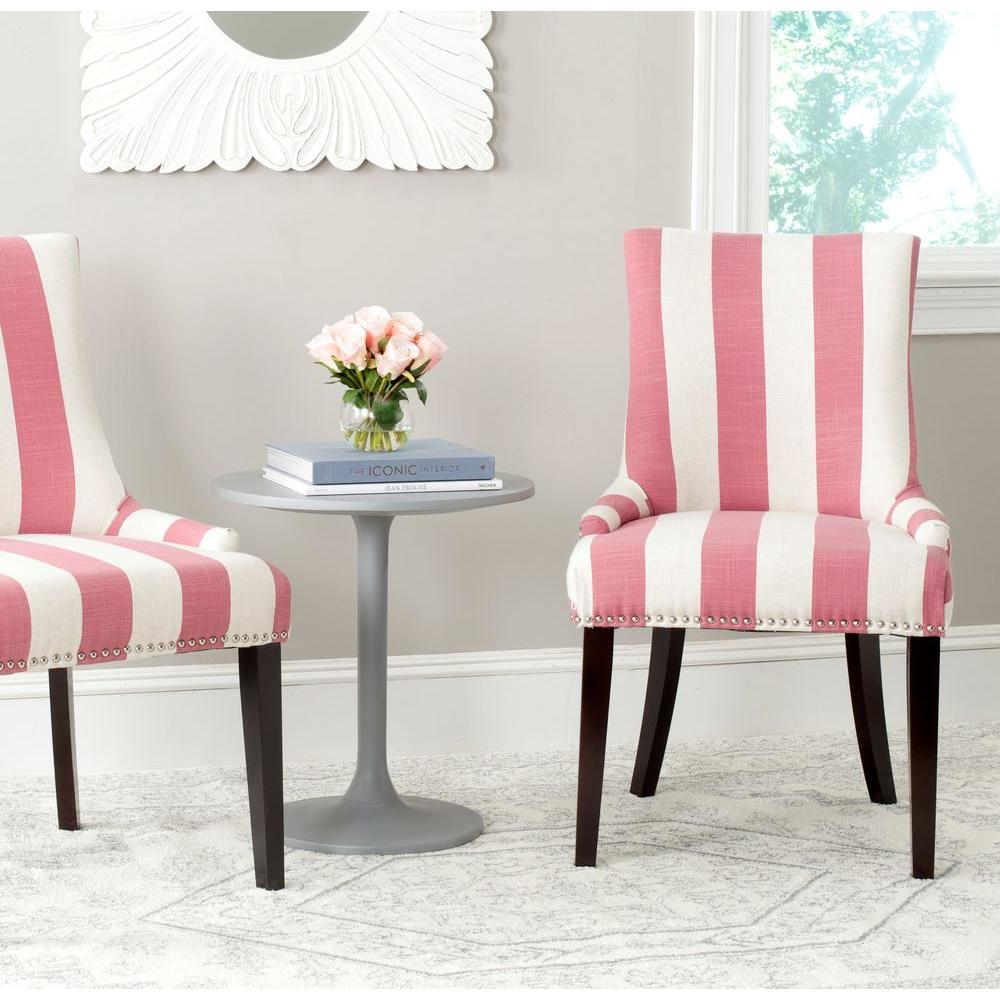 Safavieh Lester Pink And White Linen Blend Dining Chair Set Of 2
