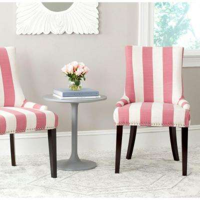 Lester Pink and White Linen Blend Dining Chair (Set of 2)
