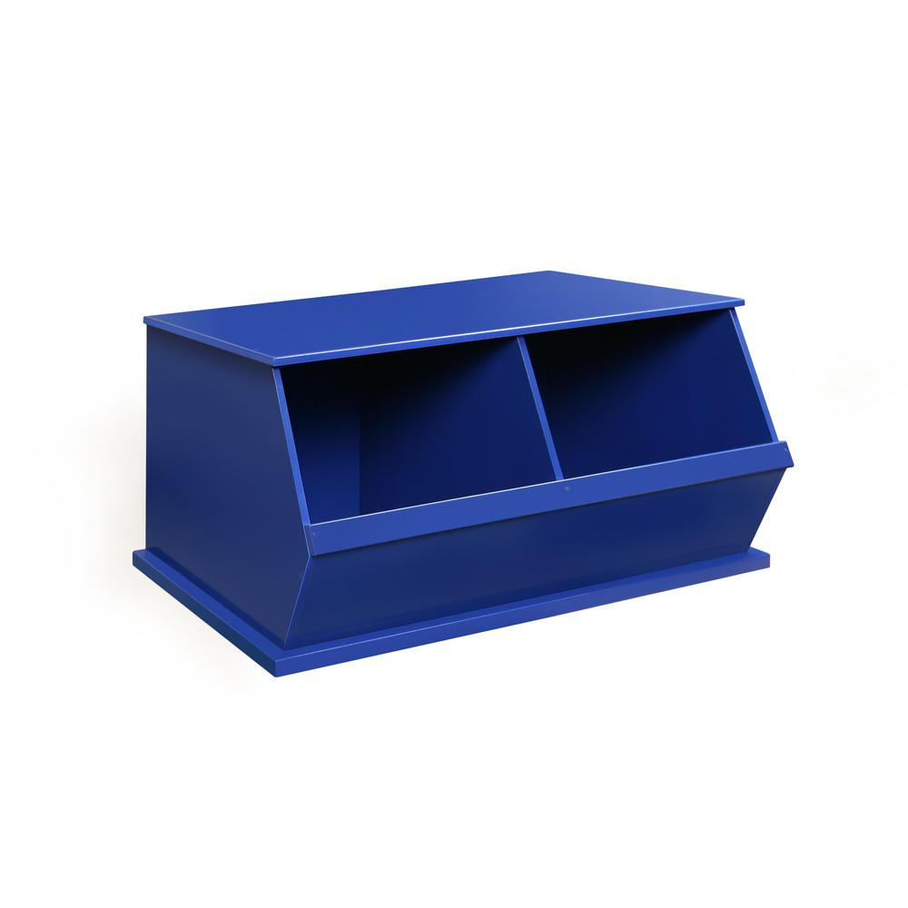 37.25 in. W x 19.25 in. D Blue Stackable 2-Storage Cubbies