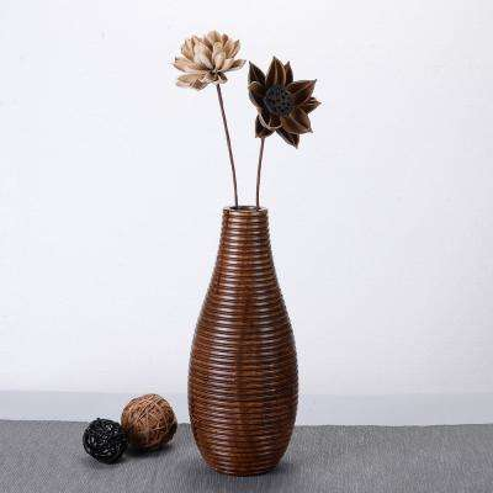 14 in. x 6 in. Handmade Decorative Mango Wood Bottle Ripple Vase in Brown