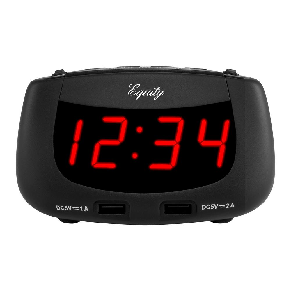 equity by la crosse 0 9 in red led dual usb alarm clock 30416 the home depot. Black Bedroom Furniture Sets. Home Design Ideas