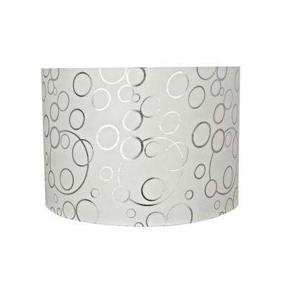 16 in. x 11 in. White and Silver Circle Pattern Drum/Cylinder Lamp Shade