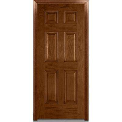 32 in. x 80 in. Severe Weather Right-Hand Outswing 6-Panel Stained Fiberglass Oak Prehung Front Door