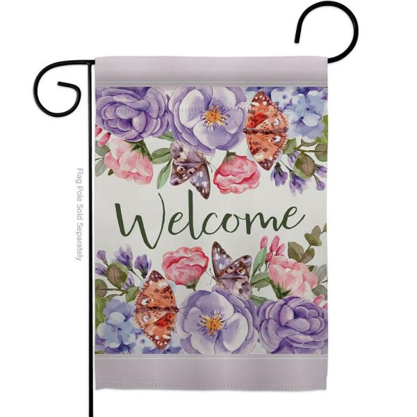 Breeze Decor 13 In X 18 5 In Colorful Bouquet Butterflies Rose Flowers Spring Floral Spring Vertical Double Sided Garden Flag Hdg154104 Bo The Home Depot