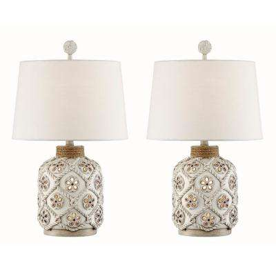 24.5 in. Antique White Indoor Table Lamp Set