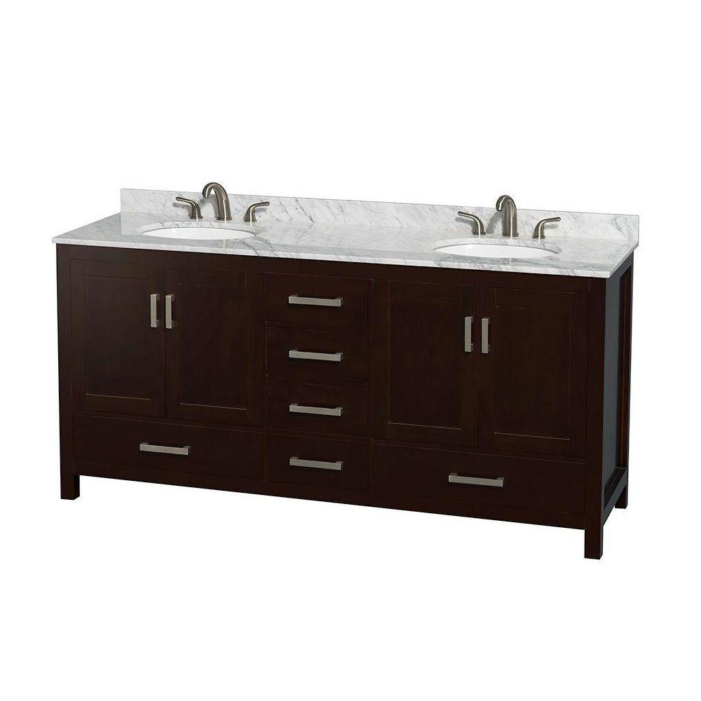 Sheffield 72 in. Double Vanity in Espresso with Marble Vanity Top