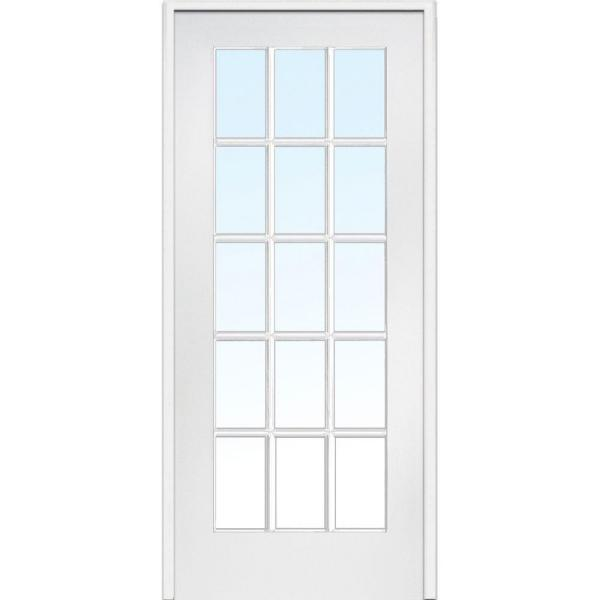 32 in. x 80 in. Right Handed Primed Composite Clear Glass 15 Lite True Divided Single Prehung Interior Door