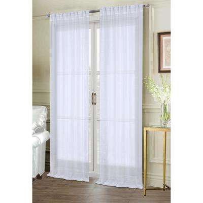 Dash 84 in. White Polyester Sheer Rod Pocket Window Curtain Panel (2-Pack)