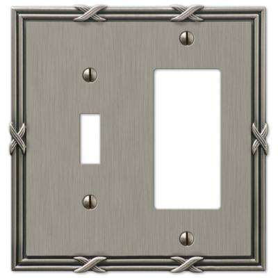 Ribbon and Reed 1 Toggle and 1 Decora Wall Plate - Antique Nickel