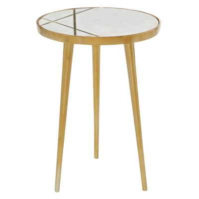 LITTON LANE 15.5 in. x 20 in. Round Light Marble Coffee Table with Gold Patterned Inlay and Metal Base