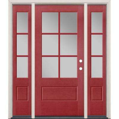 64 in. x 80 in. Vista Grande Painted Right-Hand Inswing 3/4 Lite Clear Glass Fiberglass Prehung Front Door and Sidelites