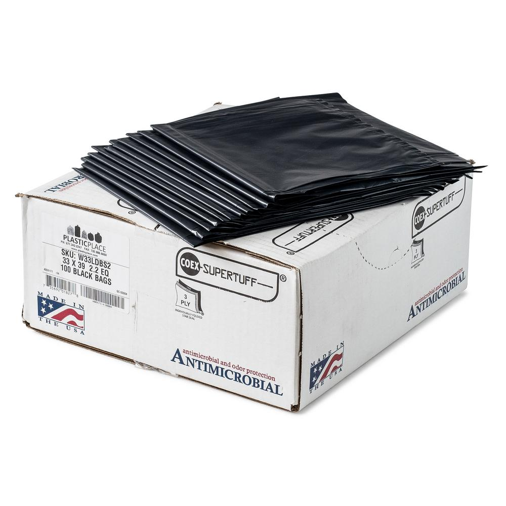 33 Gal. Black Eco-Friendly Trash Bags (Case of 100)