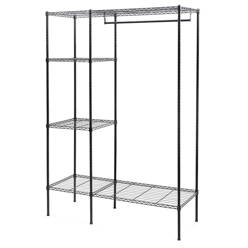 47 in. x 59 in. Black Carbon Steel Powder Coating 3-Tier