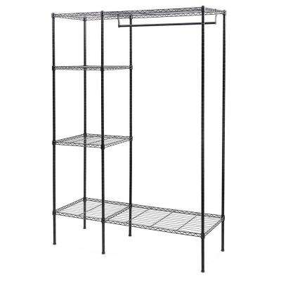 47 in. x 59 in. Black Carbon Steel Powder Coating 3-Tier Garment Rack