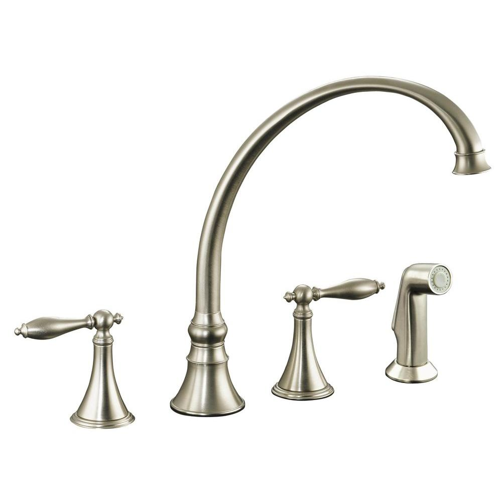 KOHLER Finial 2-Handle Pull-Out Sprayer Kitchen Faucet in Vibrant Brushed Nickel