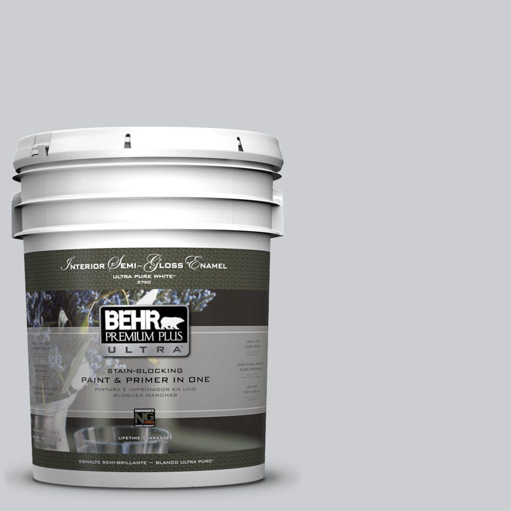 5 gal. #770E-2 Silver Screen Color Semi-Gloss Enamel Interior Paint
