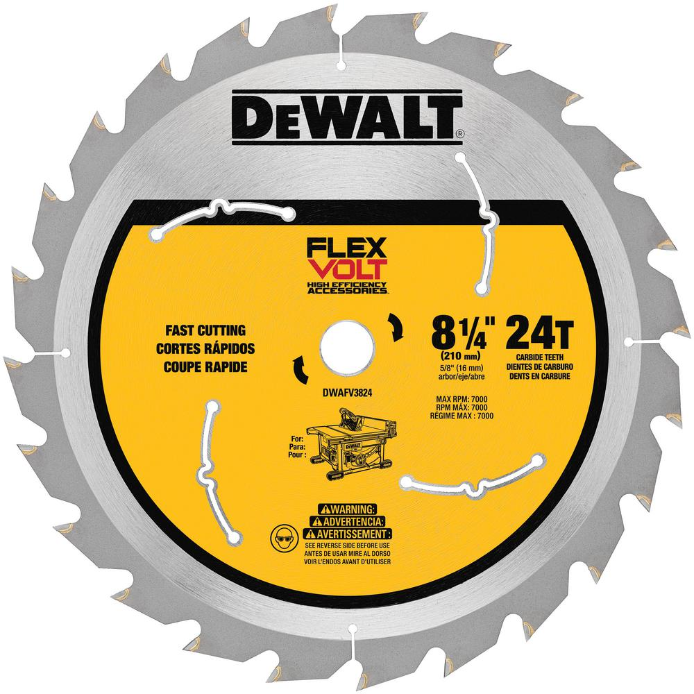 Dewalt flexvolt 8 14 in 24 teeth table saw blade dwafv3824 the dewalt flexvolt 8 14 in 24 teeth table saw blade greentooth