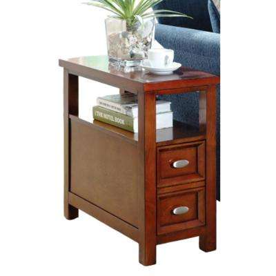 Amelia Cherry 2 Sleek Drawers Side Table