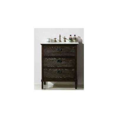 30 in. Vanity in Brown with Marble Vanity Top in White with White Basin