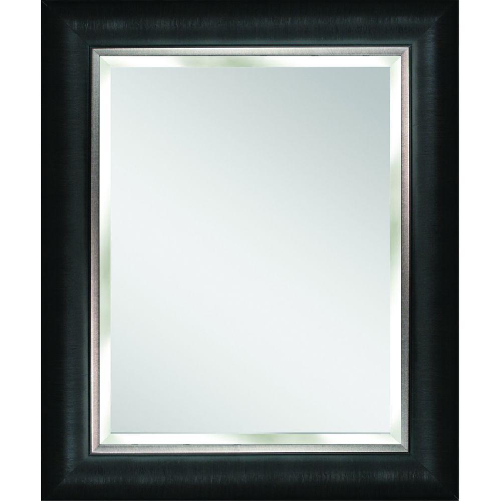Deco Mirror Alderton 29 in. x 35 in. Mirror in Black and Silver-8876 ...