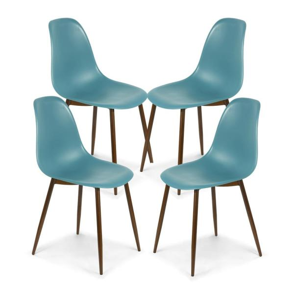 Landon Mod Teal Sculpted Dining Chair (Set of 4)
