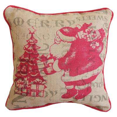 14 in. H x 14 in. W Saint Nick Christmas with Printed Burlap Collection Pillow