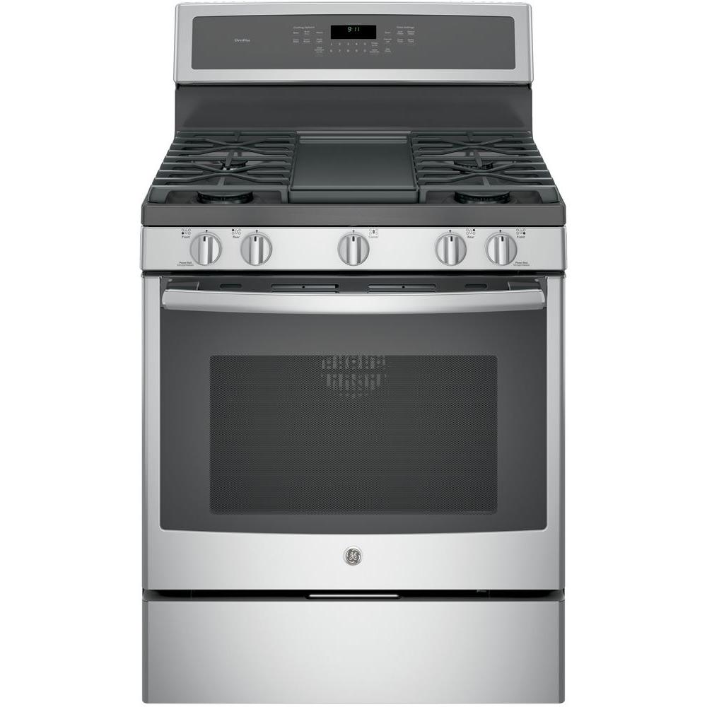 Profile  6 Cu Ft Gas Range With Self Cleaning Convection Oven In Stainless Steel