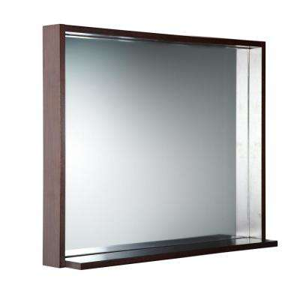 Allier 35.50 in. W x 25.50 in. H Framed Wall Mirror with Shelf in Wenge
