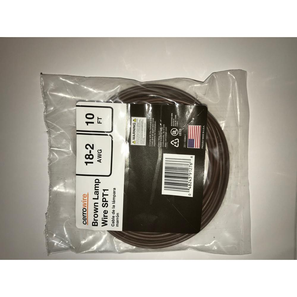 10 ft. 18/2 Brown Stranded Lamp Wire