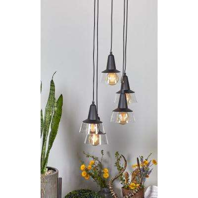 52 in. White Pendant Light with Five Black Bud-Shaped Lights Fixed to Wires