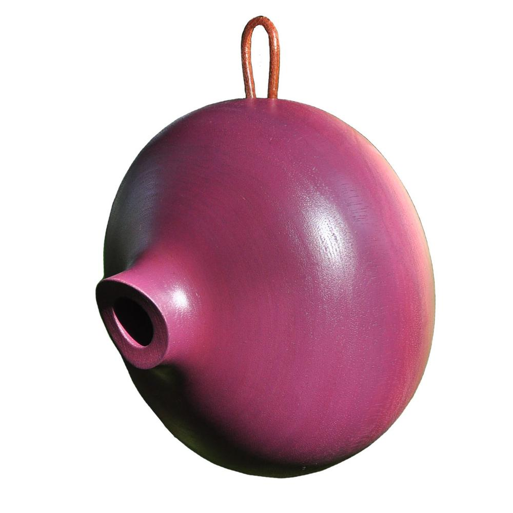 8 in. Plum Mango Wood Ellipse Bird House