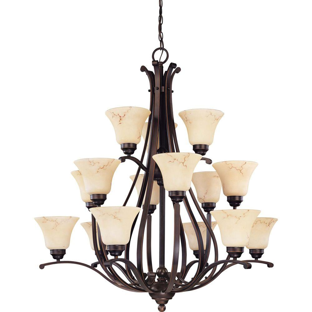 buy online 67cfb 424cd Glomar 15-Light Copper Espresso Chandelier with Honey Marble Glass Shade