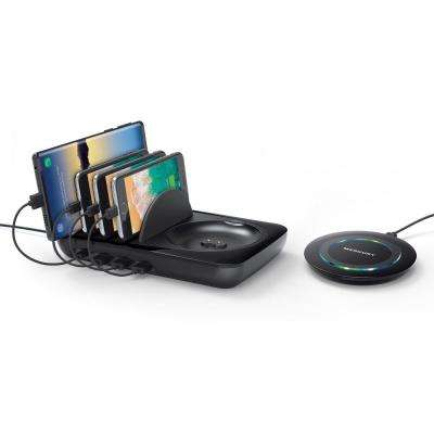 4-Port Multiple USB Charger Station and Phone Docking Station with QI Compatible Wireless Charger
