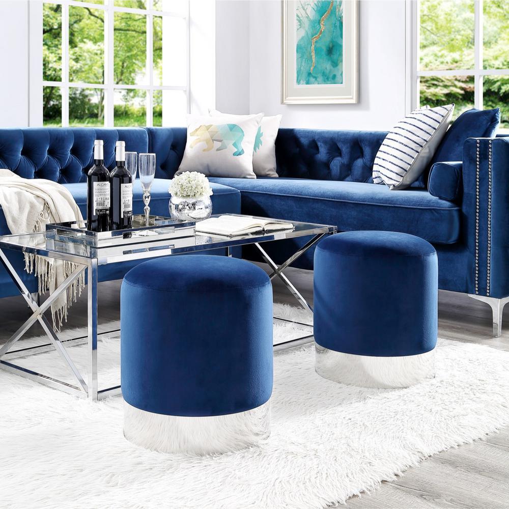 Pleasant Inspired Home Caroline Navy Chrome Velvet Round Ottoman With Short Links Chair Design For Home Short Linksinfo