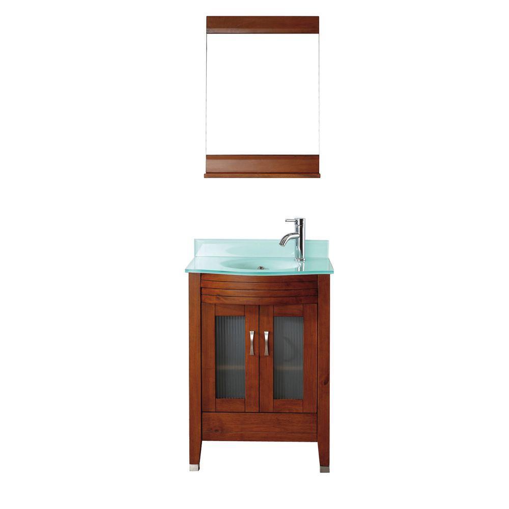 Studio Bathe Alba 24 in. Vanity in Classic Cherry with Glass Vanity Top in Classic Cherry and Mirror