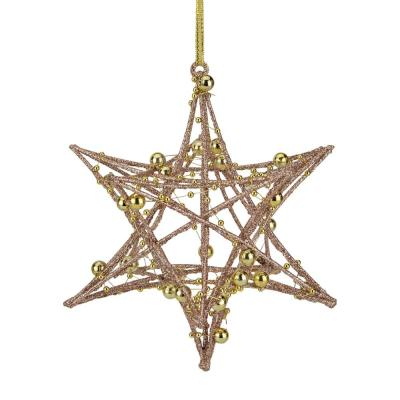 Northlight 5 In Glitter Rose Gold Iron Wire Starburst With Beads Christmas Ornament 34313315 The Home Depot