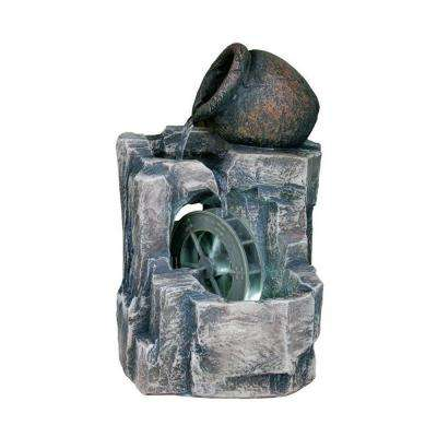 11 in. Stone/Gray LED Table Fountain