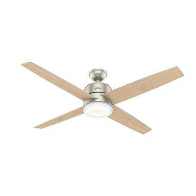 Advocate 60 in. Integrated LED Indoor Matte Nickel Smart Ceiling Fan with Light and Remote Control